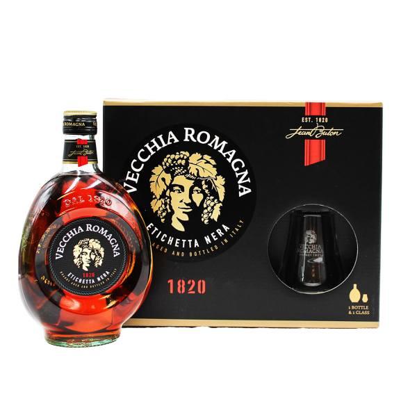 Vecchia Romagna Etichetta Nera Gift Box (Bottle and Glass)
