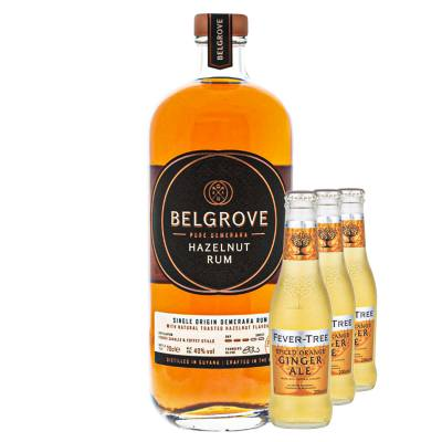 Belgrove Hazelnut Rum + 3 FREE Fever-tree Orange Spiced Ginger Ale Bottles